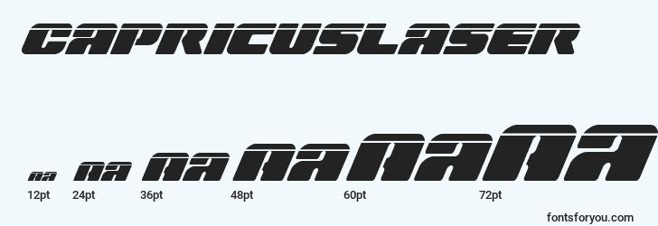 sizes of capricuslaser font, capricuslaser sizes