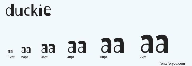 sizes of duckie font, duckie sizes