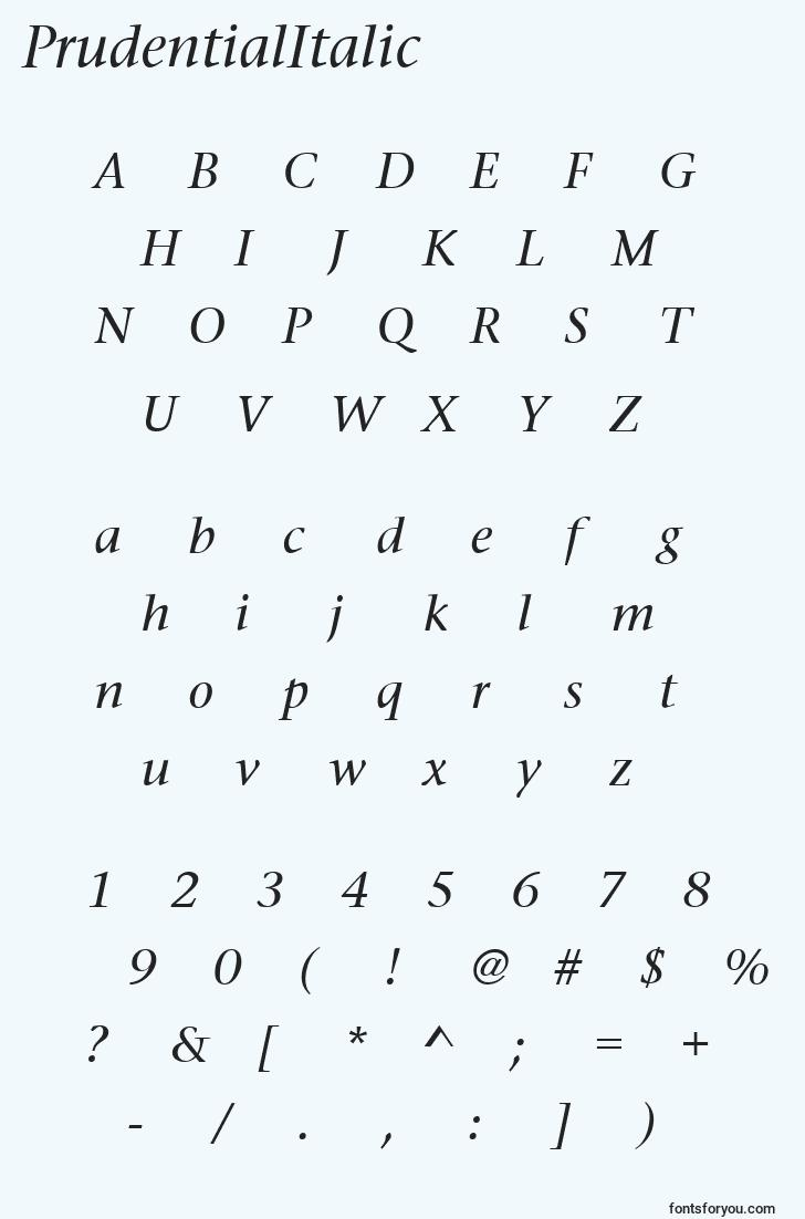characters of prudentialitalic font, letter of prudentialitalic font, alphabet of  prudentialitalic font