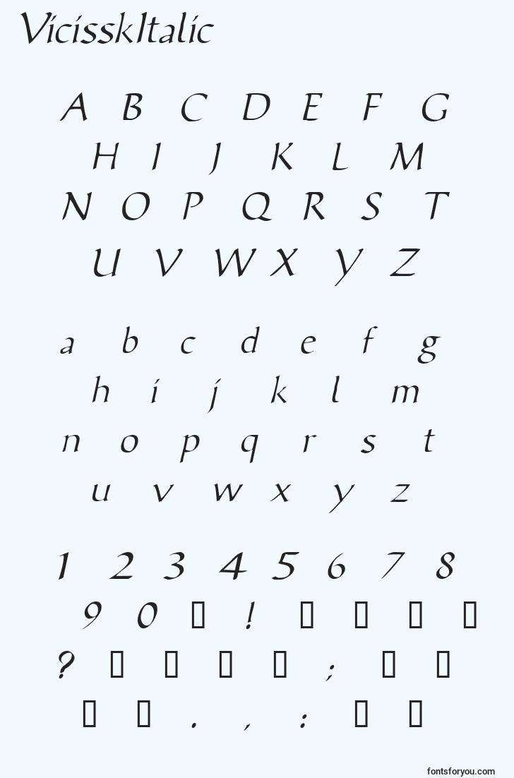 characters of vicisskitalic font, letter of vicisskitalic font, alphabet of  vicisskitalic font