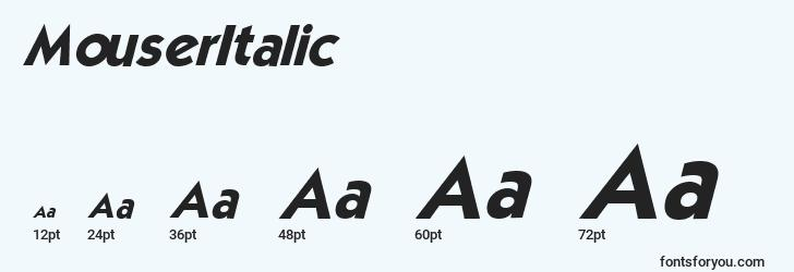 sizes of mouseritalic font, mouseritalic sizes