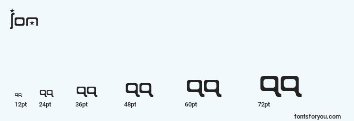 sizes of ion font, ion sizes