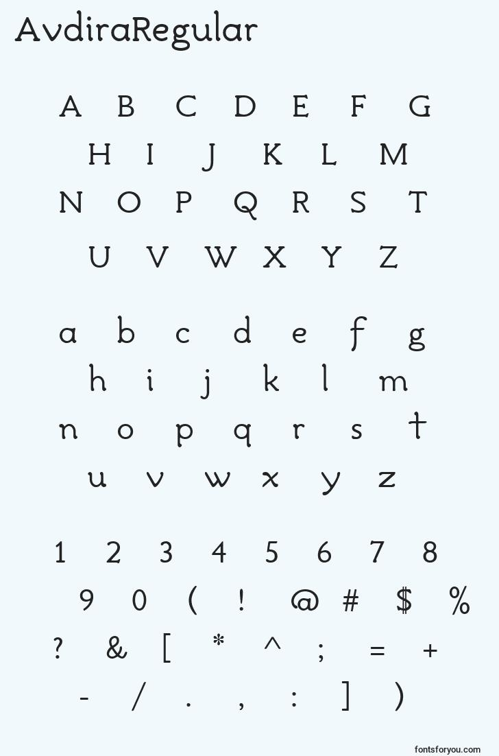 characters of avdiraregular font, letter of avdiraregular font, alphabet of  avdiraregular font