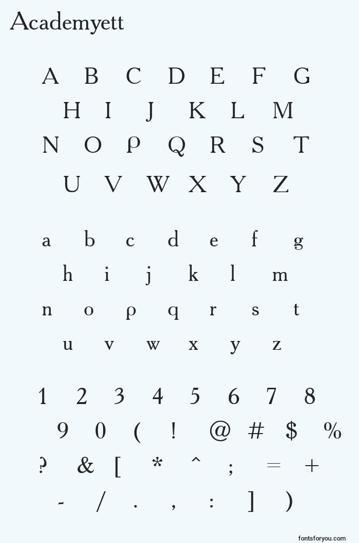 characters of academyett font, letter of academyett font, alphabet of  academyett font