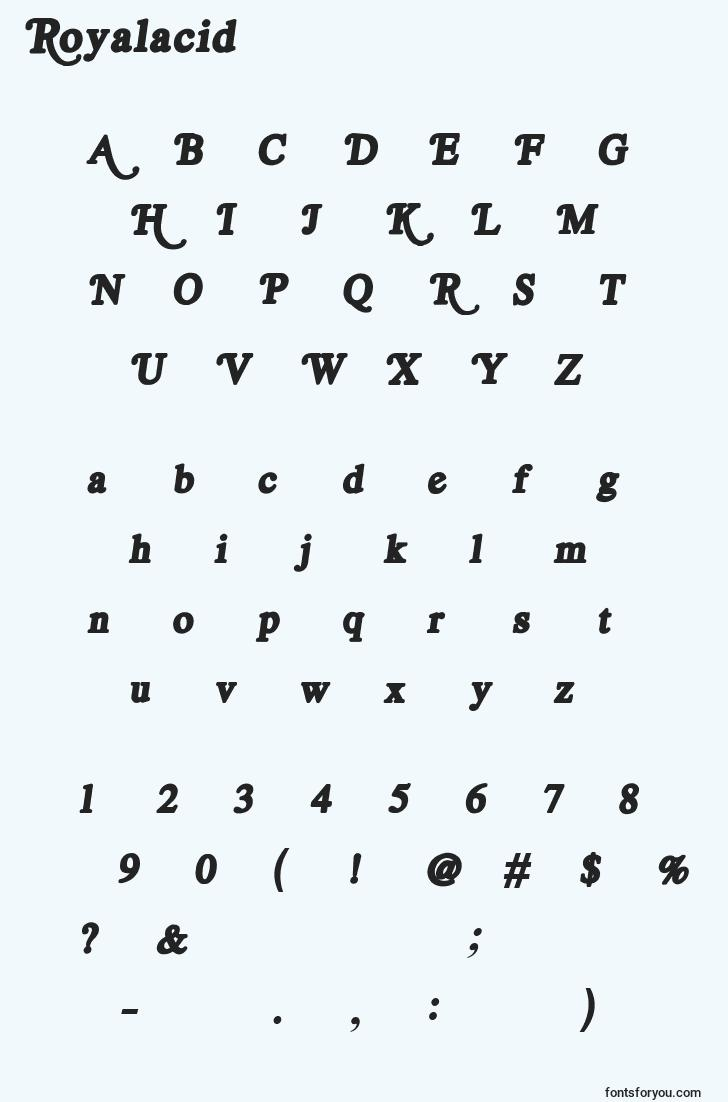 characters of royalacid font, letter of royalacid font, alphabet of  royalacid font