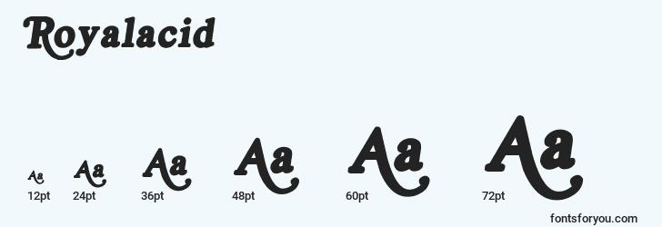 sizes of royalacid font, royalacid sizes