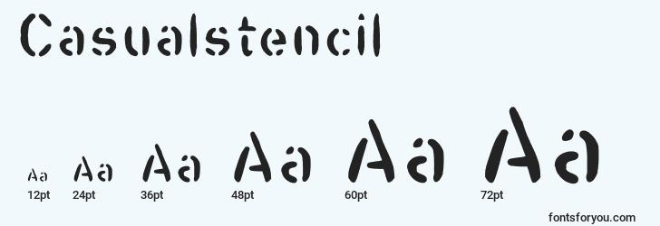 sizes of casualstencil font, casualstencil sizes