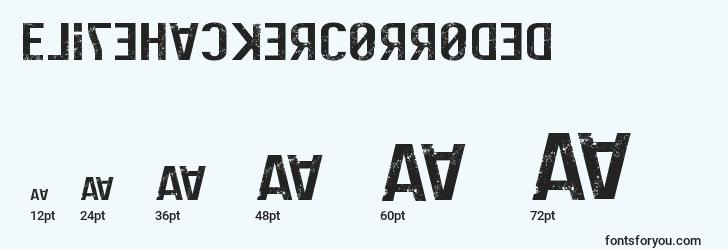 sizes of elitehackercorroded font, elitehackercorroded sizes