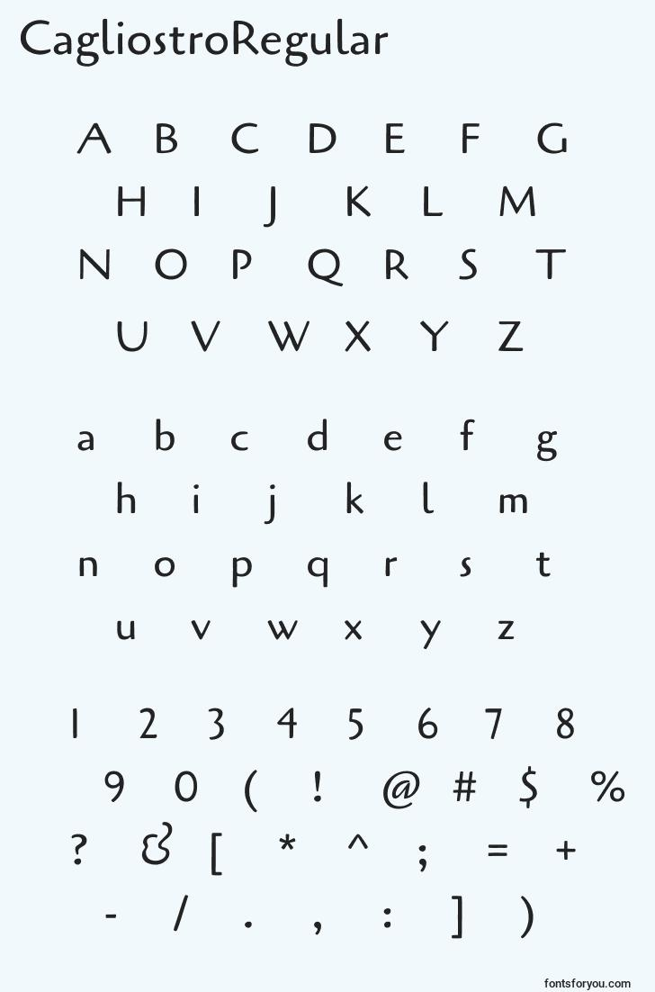 characters of cagliostroregular font, letter of cagliostroregular font, alphabet of  cagliostroregular font