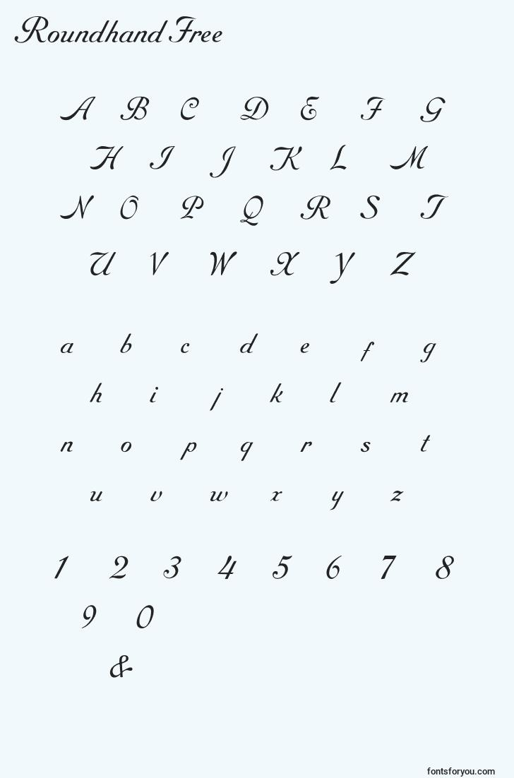 characters of roundhandfree font, letter of roundhandfree font, alphabet of  roundhandfree font