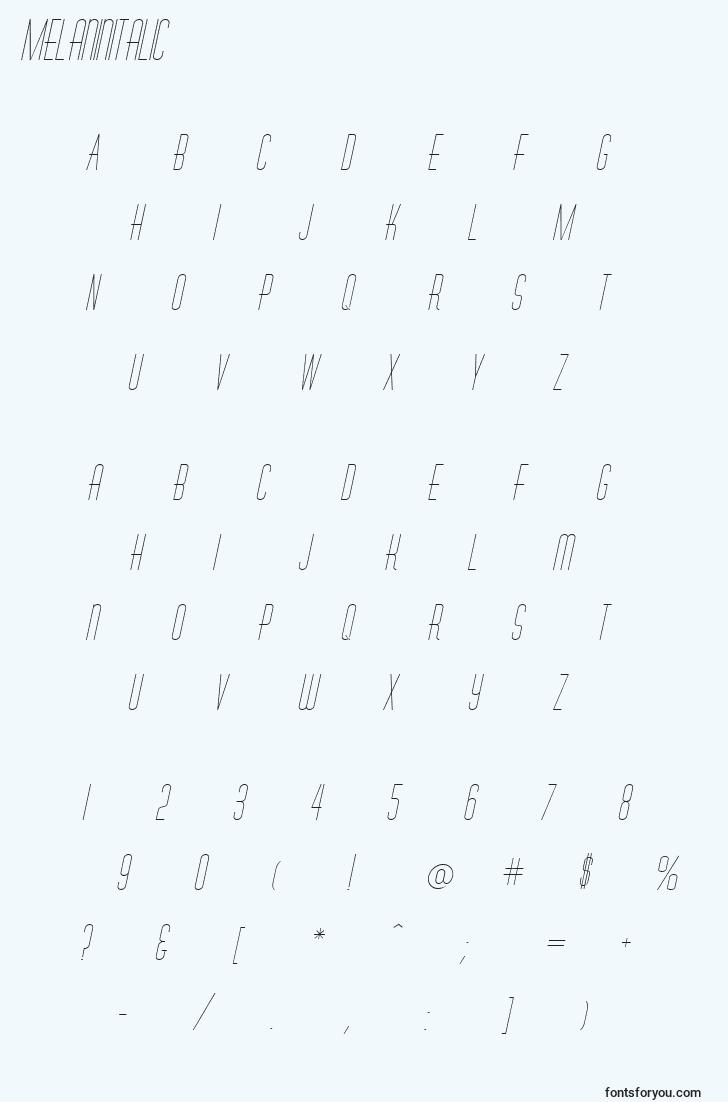 characters of melaninitalic font, letter of melaninitalic font, alphabet of  melaninitalic font