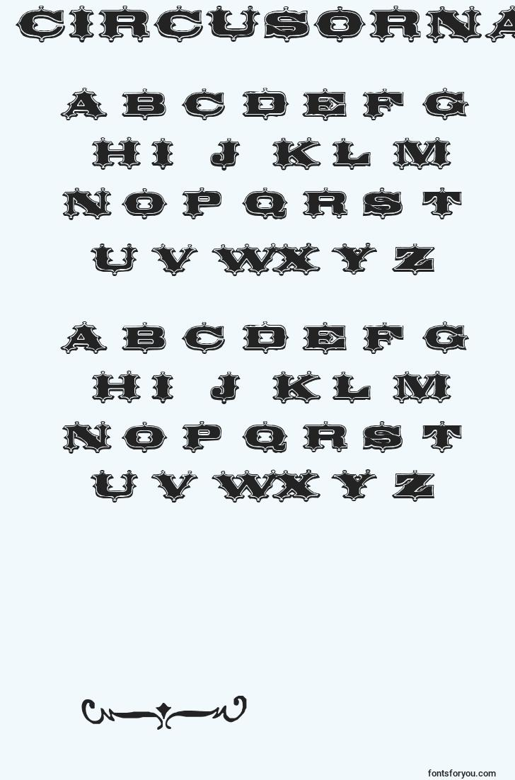 characters of circusornate font, letter of circusornate font, alphabet of  circusornate font