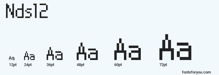 sizes of nds12 font, nds12 sizes