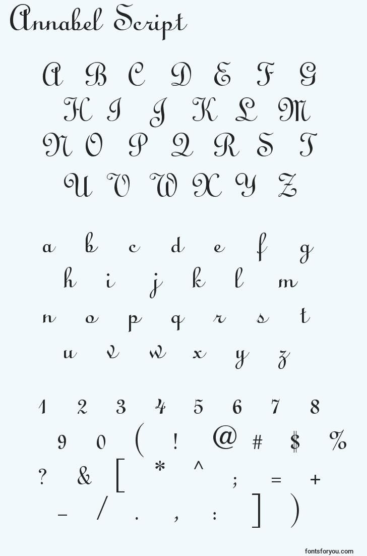 characters of annabel script font, letter of annabel script font, alphabet of  annabel script font
