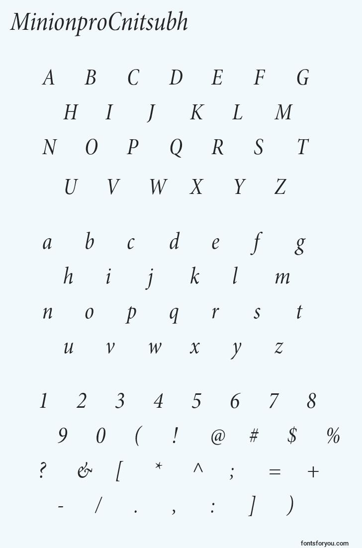 characters of minionprocnitsubh font, letter of minionprocnitsubh font, alphabet of  minionprocnitsubh font