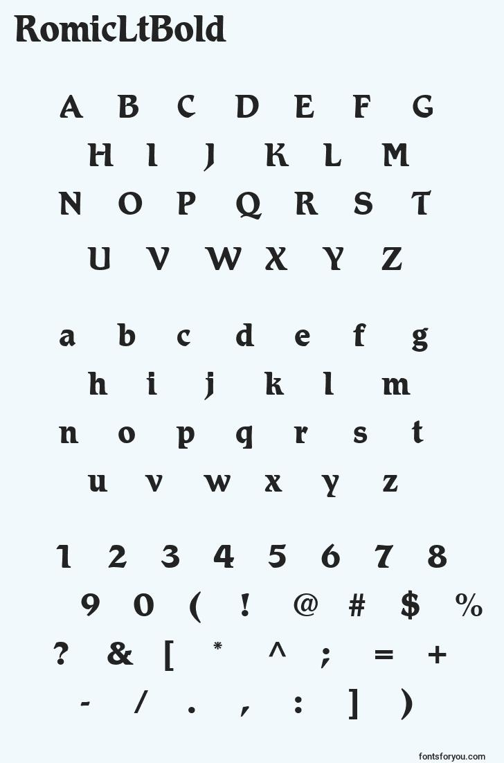 characters of romicltbold font, letter of romicltbold font, alphabet of  romicltbold font