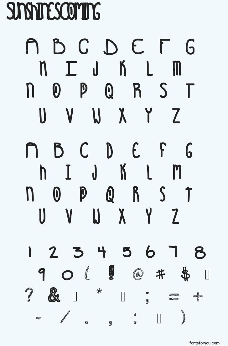 characters of sunshinescoming font, letter of sunshinescoming font, alphabet of  sunshinescoming font