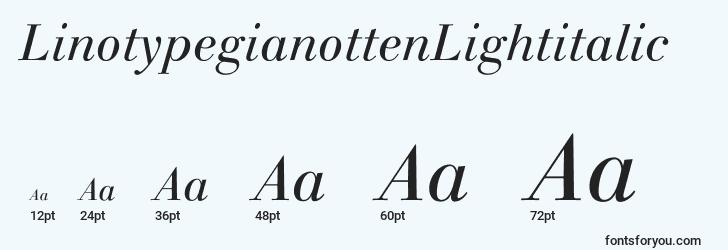 sizes of linotypegianottenlightitalic font, linotypegianottenlightitalic sizes