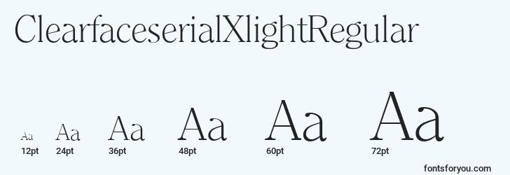 sizes of clearfaceserialxlightregular font, clearfaceserialxlightregular sizes