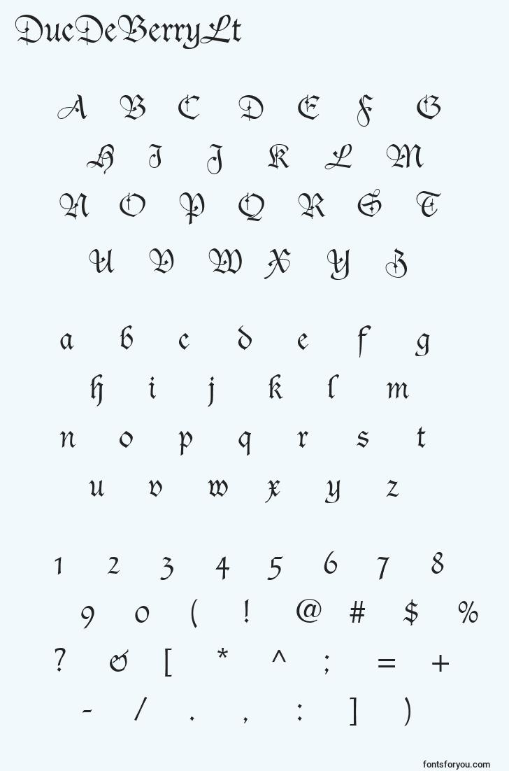 characters of ducdeberrylt font, letter of ducdeberrylt font, alphabet of  ducdeberrylt font