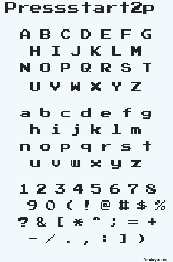 characters of pressstart2p font, letter of pressstart2p font, alphabet of  pressstart2p font