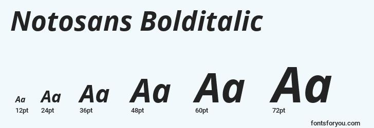 sizes of notosans bolditalic font, notosans bolditalic sizes