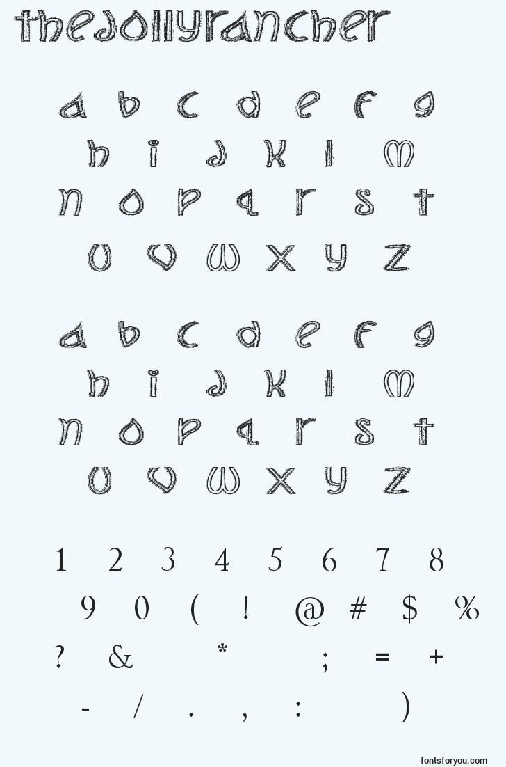 characters of thejollyrancher font, letter of thejollyrancher font, alphabet of  thejollyrancher font