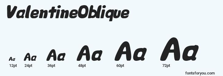 sizes of valentineoblique font, valentineoblique sizes