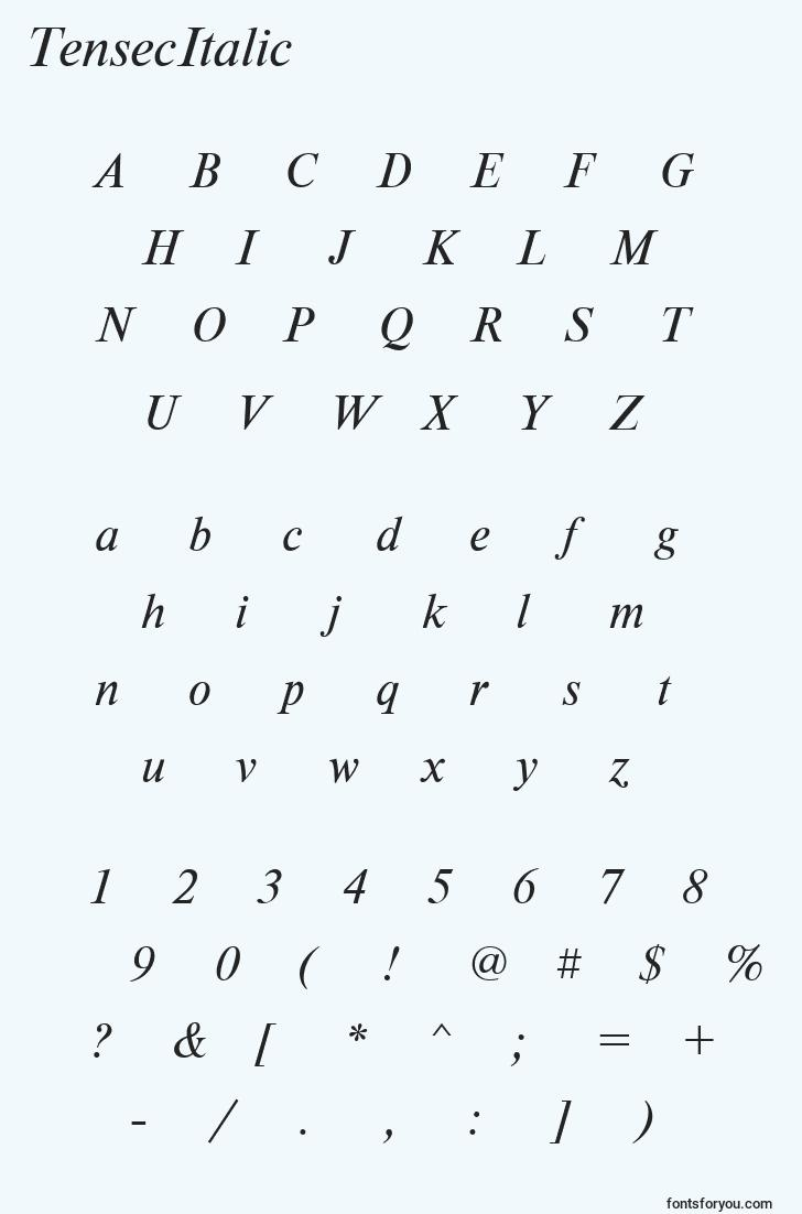 characters of tensecitalic font, letter of tensecitalic font, alphabet of  tensecitalic font