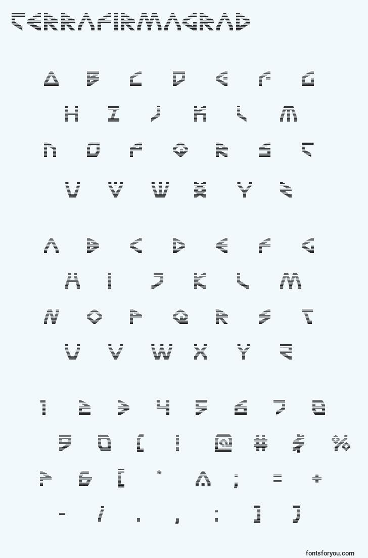 characters of terrafirmagrad font, letter of terrafirmagrad font, alphabet of  terrafirmagrad font