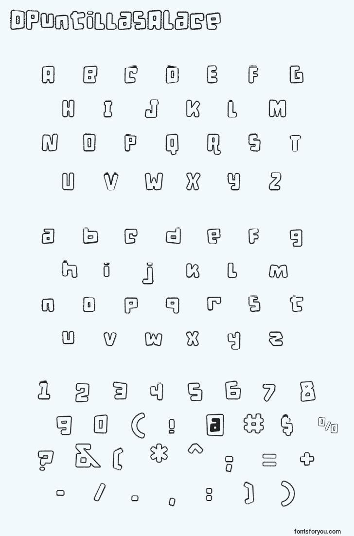 characters of dpuntillasalace font, letter of dpuntillasalace font, alphabet of  dpuntillasalace font