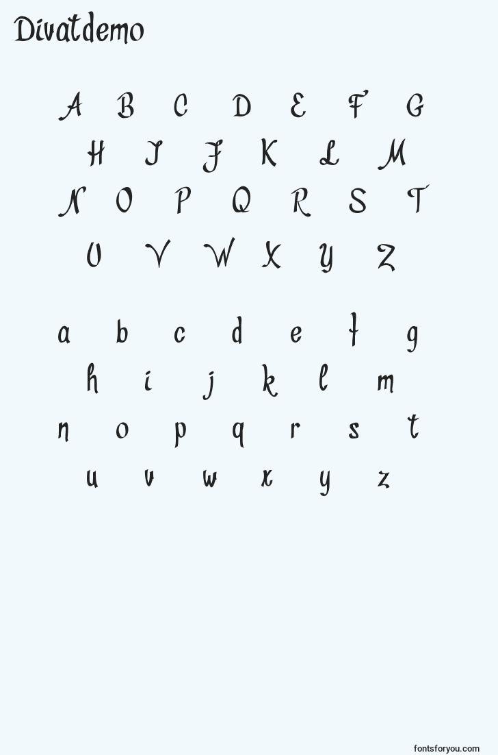 characters of divatdemo font, letter of divatdemo font, alphabet of  divatdemo font