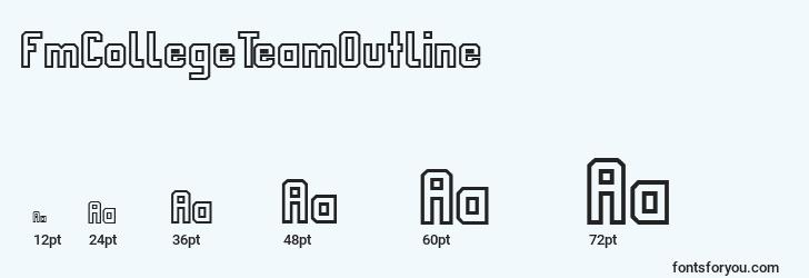 sizes of fmcollegeteamoutline font, fmcollegeteamoutline sizes