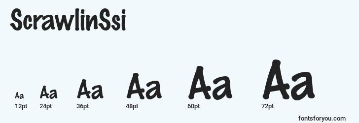 sizes of scrawlinssi font, scrawlinssi sizes