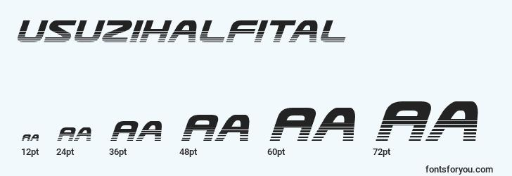 sizes of usuzihalfital font, usuzihalfital sizes