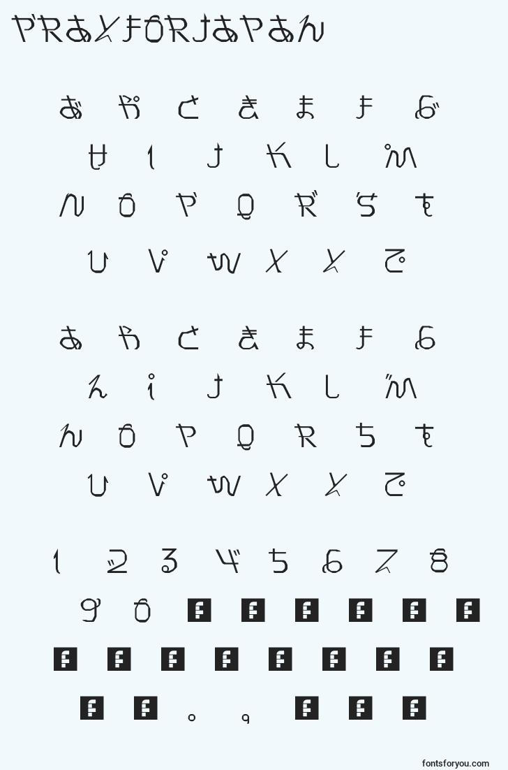 characters of prayforjapan font, letter of prayforjapan font, alphabet of  prayforjapan font