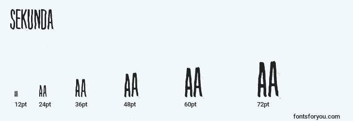 sizes of sekunda font, sekunda sizes