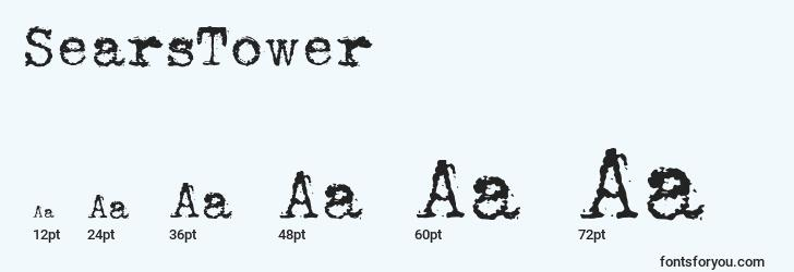 sizes of searstower font, searstower sizes
