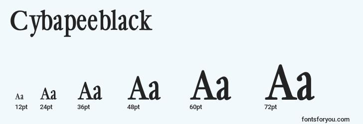 sizes of cybapeeblack font, cybapeeblack sizes
