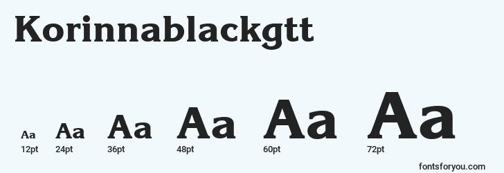 sizes of korinnablackgtt font, korinnablackgtt sizes