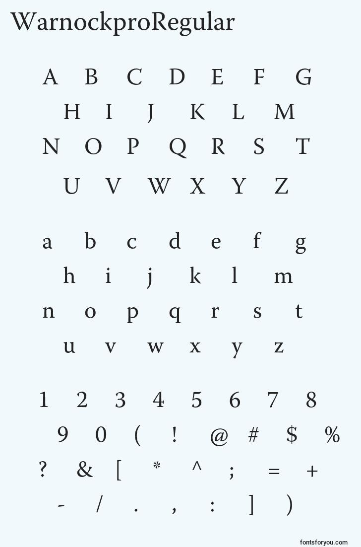 characters of warnockproregular font, letter of warnockproregular font, alphabet of  warnockproregular font