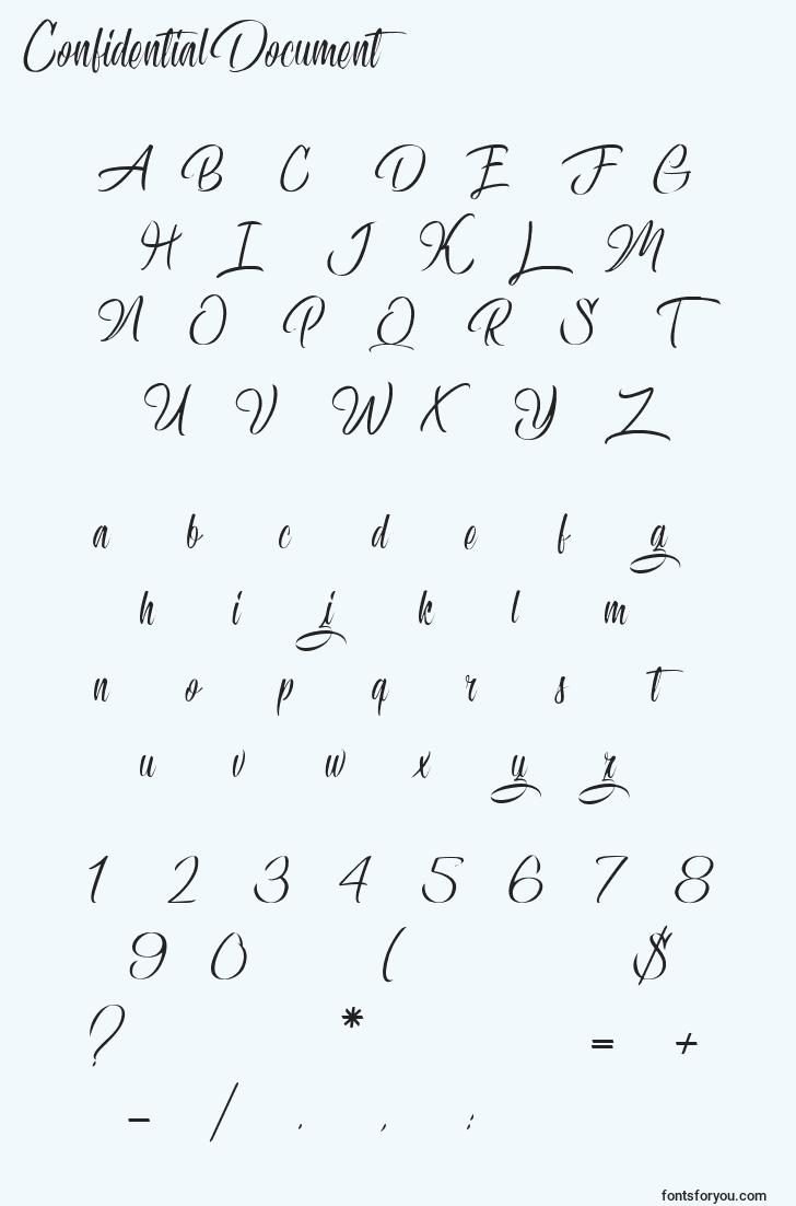 characters of confidentialdocument font, letter of confidentialdocument font, alphabet of  confidentialdocument font