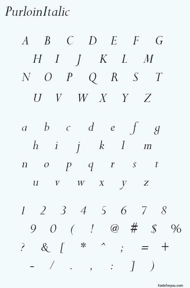 characters of purloinitalic font, letter of purloinitalic font, alphabet of  purloinitalic font