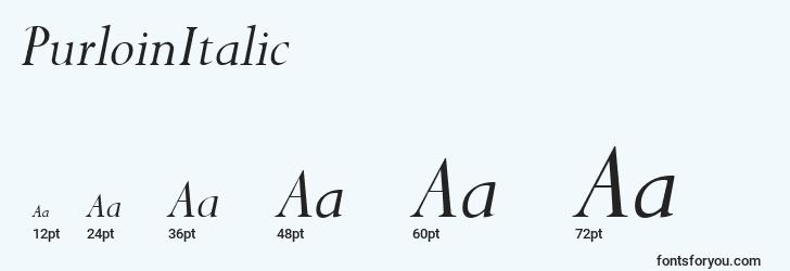 sizes of purloinitalic font, purloinitalic sizes