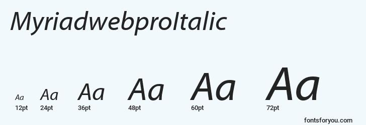sizes of myriadwebproitalic font, myriadwebproitalic sizes