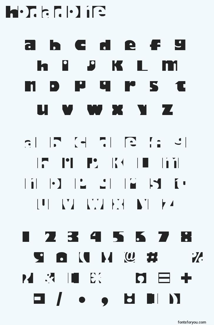characters of hodadone font, letter of hodadone font, alphabet of  hodadone font