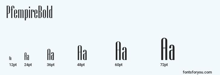 sizes of pfempirebold font, pfempirebold sizes