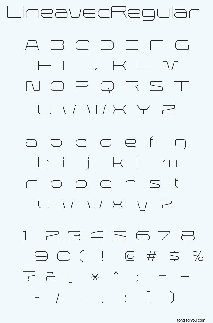 characters of lineavecregular font, letter of lineavecregular font, alphabet of  lineavecregular font