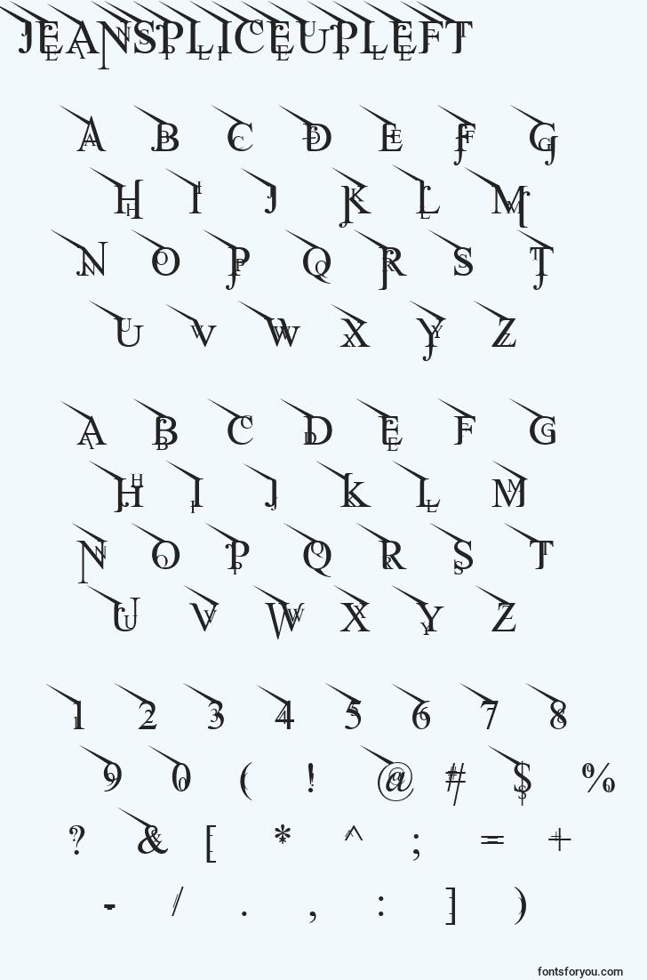 characters of jeanspliceupleft font, letter of jeanspliceupleft font, alphabet of  jeanspliceupleft font