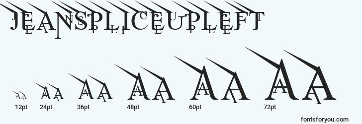 sizes of jeanspliceupleft font, jeanspliceupleft sizes